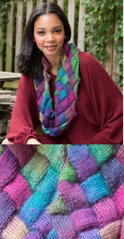 Free Knitting Pattern For An Entrelac Knit Cowl Knitting Bee