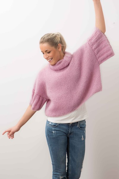 Free Knitting Pattern for an Oversized Cropped Sweater