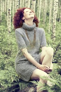 Free dress knitting pattern with a polo neck and interesting lace stitch