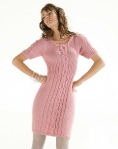Free knitting pattern for a Cable and Rib dress