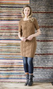 Free knitting pattern for a Short Sleeved Cable Dress