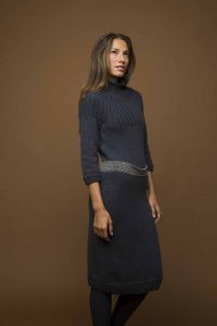 Free knitting pattern for a below the knee dress with long sleeves and turtleneck