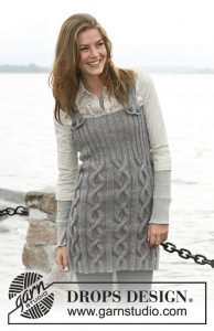 Free knitting pattern for a cable and rib stitch dress