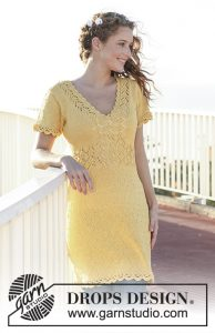 Free knitting pattern for a dress with lace pattern, short sleeves and crochet borders