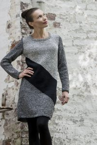 Free knitting pattern for a graphic diagonal dress