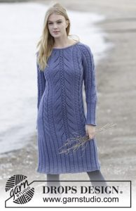 Free knitting pattern for a lace and cable dress