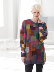Free knitting pattern for a modern color block sweater dress