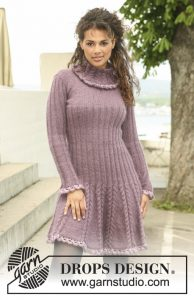 Free knitting pattern for a rib and cable dress Blooming Iris