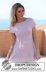 Free knitting pattern for a round yoke rib dress pattern