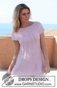 Free knitting pattern for a round yoke rib dress pattern