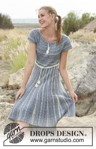 Free knitting pattern for a short row stripe dress