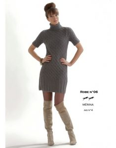 Free knitting pattern for a short sleeved cabled dress with rib polo neck