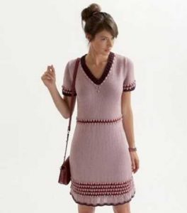 Free knitting pattern for a short sleeved v-neck dress
