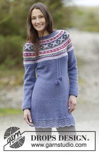 Knitted dress with round yoke and Norwegian pattern