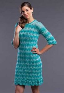 Free knitting pattern for a stretch lace rib stitch dress.