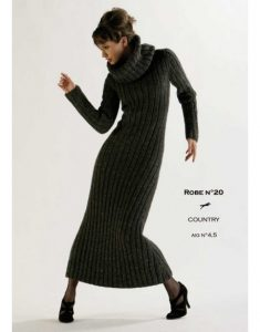 Long form fitting dress in rib stitch with turtleneck free knitting pattern