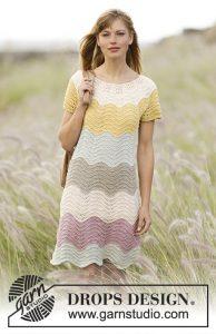 Feather and fan ripple stitch dress knitting pattern