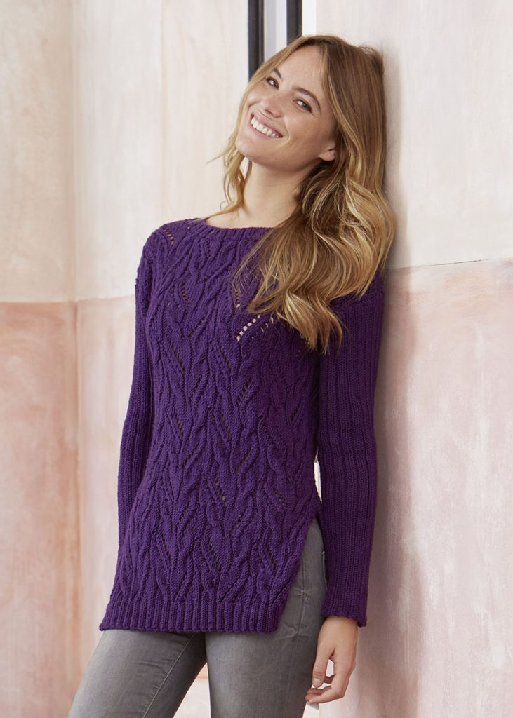 Free Knitting Pattern for a Lace and Cable Pullover