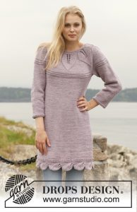 Free knitting pattern for a dress. Three quarter sleeves dress with round yoke and lace leaf pattern