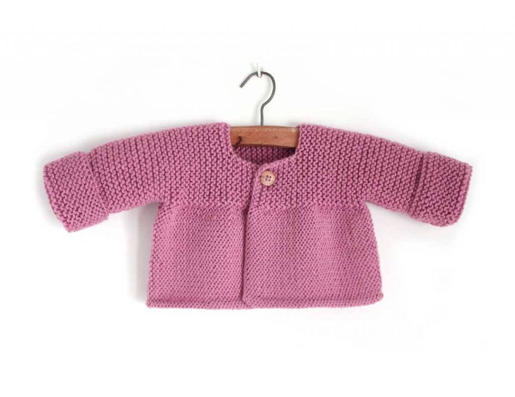 Easy Garter and Stockinette Stitch Baby Cardigan Free Knitting Pattern