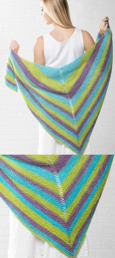 Easy and free Triangle Shawl Knitting Pattern