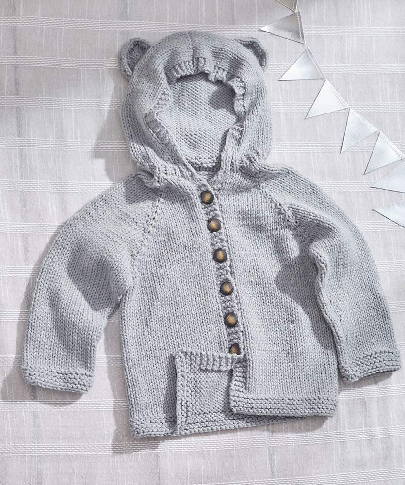 Easy baby cardigan knitting pattern with hoodie free