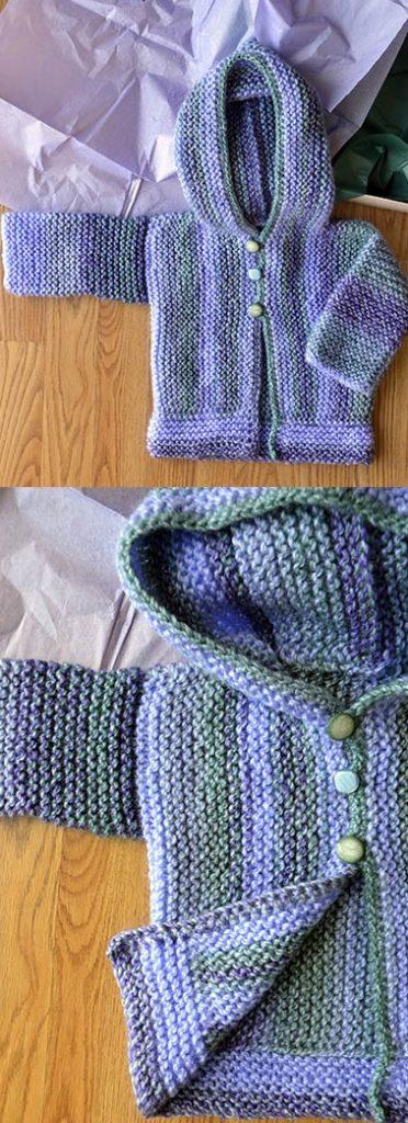 Easy garter stitch hoodie baby cardigan knitting pattern