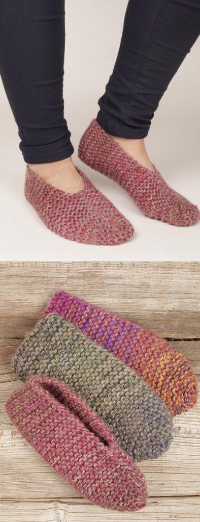 Easy garter stitch slippers free knitting pattern
