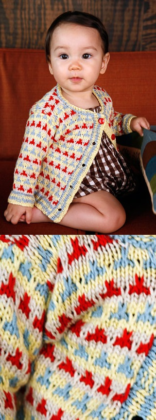 Free Baby Knitting Pattern for a Colorwork Slip Stitch Baby Cardigan