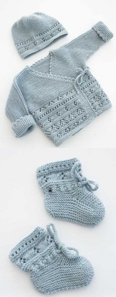 Free baby knitting pattern set including a lace cardigan and booties.