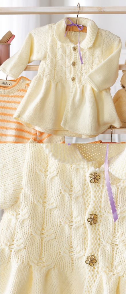 d86684746af5 Free Baby Knitting Pattern for a Baby Girl s Jacket ⋆ Knitting Bee