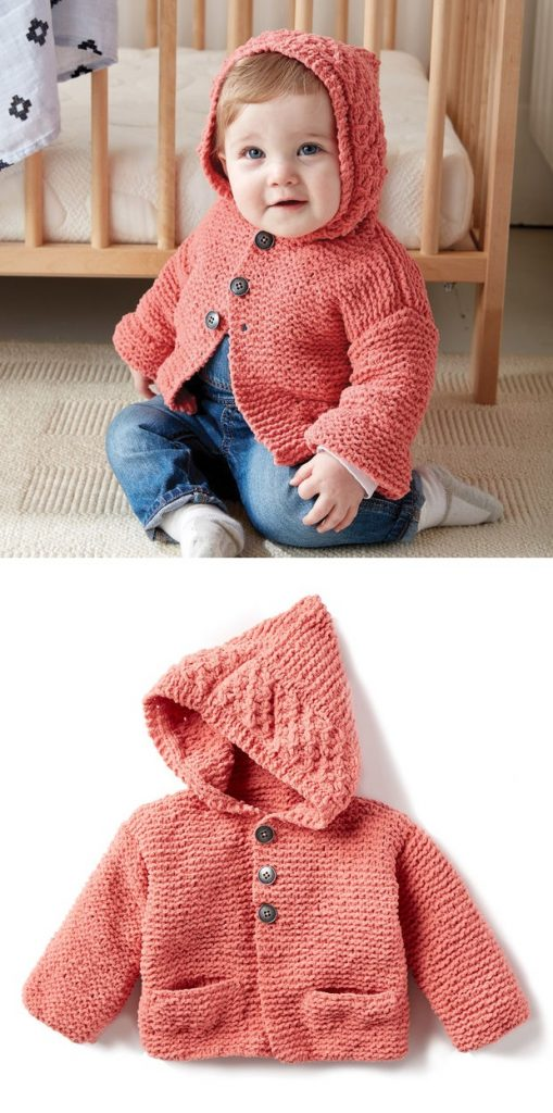 Free Baby Knitting Pattern for a Cardigan with a Hoodie