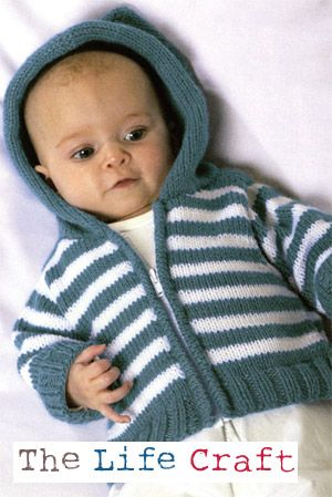 Free Baby Knitting Pattern for a Simple Striped Hoodie