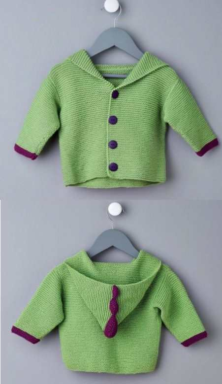 Free Easy Baby Cardigan Knitting Pattern with a Hoodie
