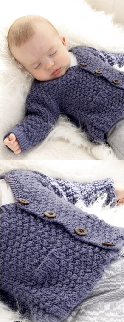 Knitted jacket with seamless sleeves in seed st for baby and children