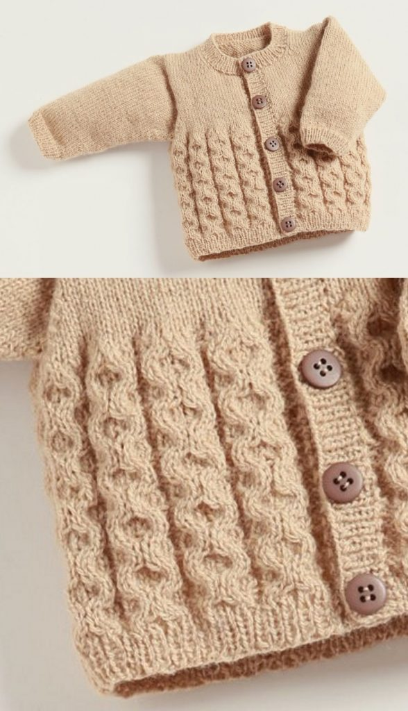 Free Knitting Pattern Baby Cardigan with Cables