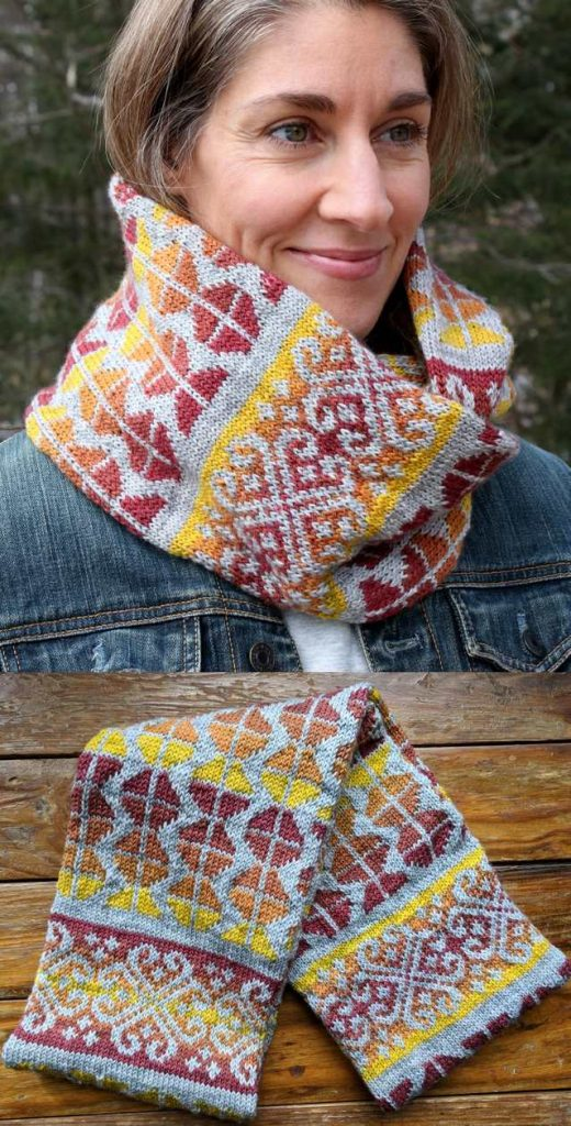 Free Knitting Pattern for Autumn Sunset Colorwork Cowl