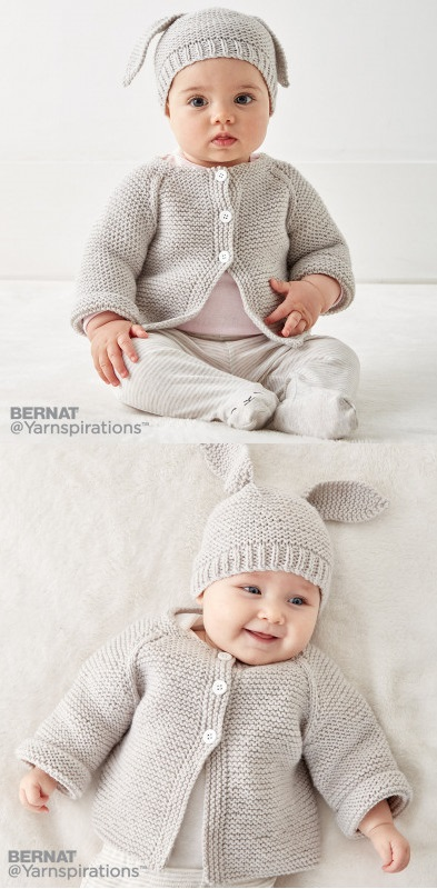 Free Knitting Pattern for Baby Cardigan and Hat Set