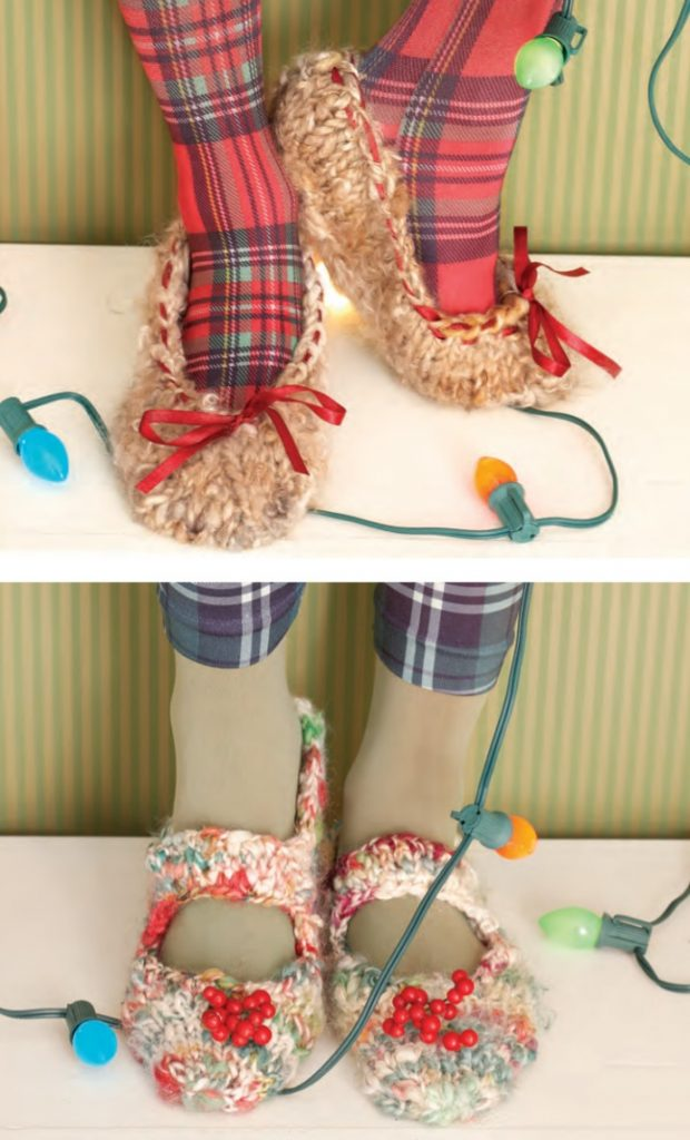 Free Knitting Pattern for Mary Jane Slippers and Ballet Flats