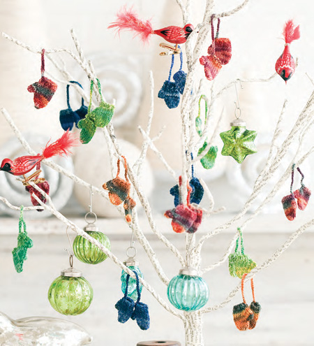 Free Knitting Pattern for Mitten Ornaments for Christmas