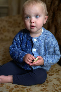 Free Knitting Pattern for a 2 Color Baby Cardigan