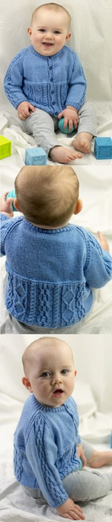 Free Knitting Pattern for a Baby Cardigan with Cable Features