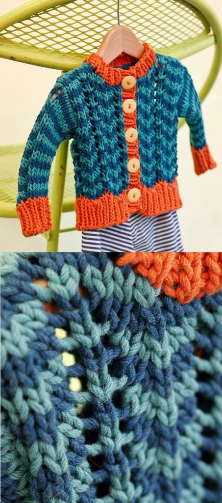 Free Knitting Pattern for a Baby Cardigan with Ripple Stitch