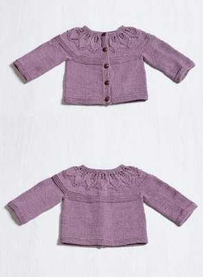 Free Knitting Pattern for a Baby Cardigan with a Lace Leaf Yoke