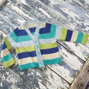 Free Knitting Pattern for a Baby and Kids Striped Cardigan