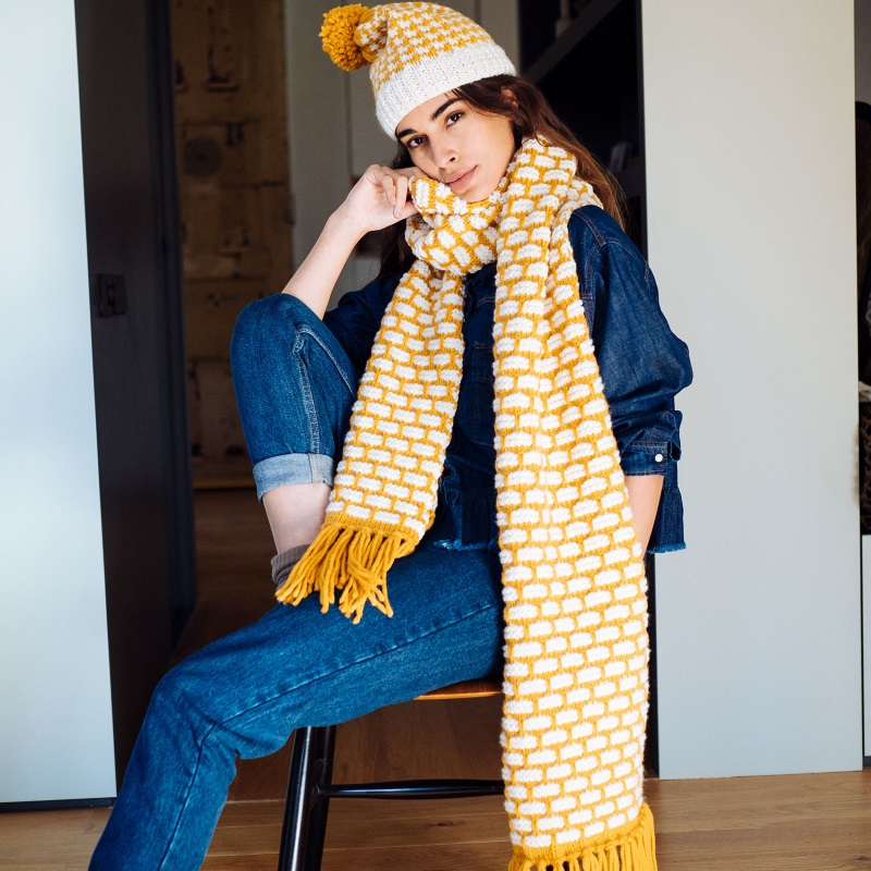 Free Knitting Pattern for a Brick Stitch Scarf and Hat Set