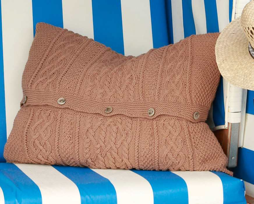 Free Knitting Pattern for a Cabled Cushion Cover