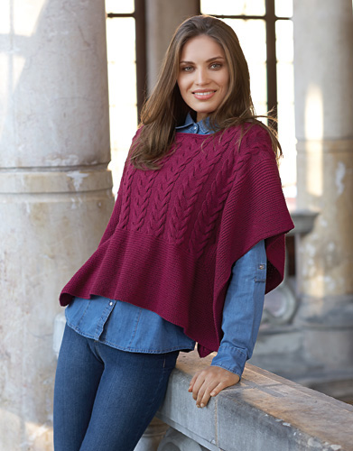 Free Knitting Pattern for a Cabled Ladies Poncho