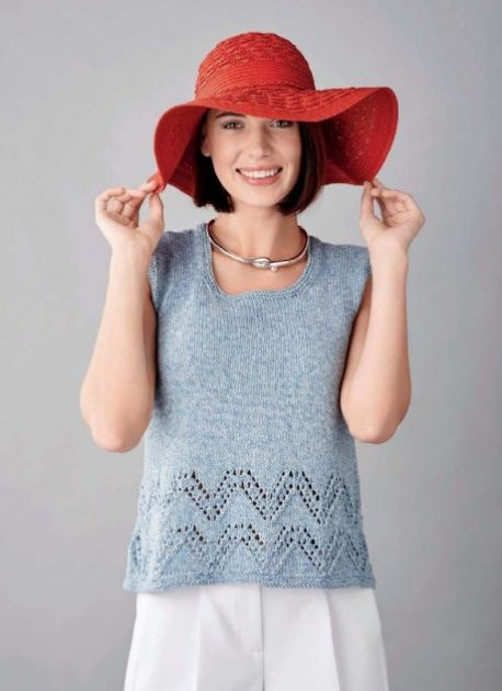 Free Knitting Pattern for a Denim Vest Top