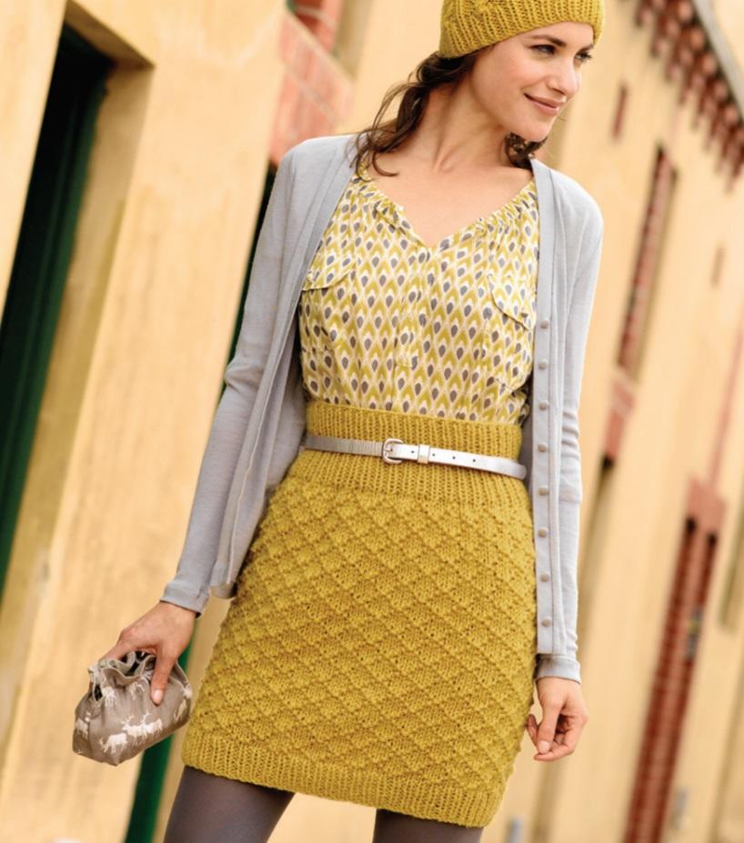 Free Knitting Pattern for a Diamond Textured Skirt